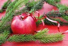 Υπόβαθρο Χριστουγέννων της ώριμης κόκκινης Apple στον πίνακα μεταξύ GR Στοκ Φωτογραφίες