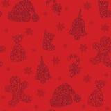 Υπόβαθρο Χριστουγέννων doodle, άνευ ραφής επικεράμωση, Στοκ φωτογραφία με δικαίωμα ελεύθερης χρήσης