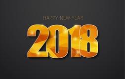 Υπόβαθρο 2018, χρυσά polygonal ψηφία καλής χρονιάς με το sha διανυσματική απεικόνιση