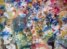 Υπόβαθρο χρωμάτων Watercolor, λαμπιρίζοντας λασπώδες κέρινο χρώμα, υπόβαθρο μορφών αντίθεσης στα χρώματα κρητιδογραφιών Στοκ φωτογραφία με δικαίωμα ελεύθερης χρήσης