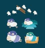 Υπόβαθρο χρώματος με τα καθορισμένα χρονικά εικονίδια ύπνου προβάτων Στοκ Φωτογραφίες