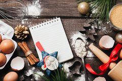 Υπόβαθρο ψησίματος ή μαγειρέματος Χριστουγέννων στοκ φωτογραφία
