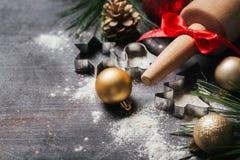Υπόβαθρο ψησίματος ή μαγειρέματος Χριστουγέννων στοκ φωτογραφίες
