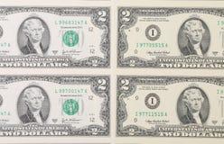 Υπόβαθρο δύο λογαριασμών δολαρίων Στοκ φωτογραφίες με δικαίωμα ελεύθερης χρήσης