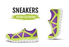 Υπόβαθρο δύο τρέχοντας παπουτσιών Ζωηρόχρωμα αθλητικά παπούτσια για το τρέξιμο Στοκ Φωτογραφία