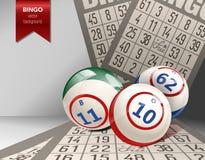 Υπόβαθρο Bingo με τις σφαίρες και τις κάρτες επίσης corel σύρετε το διάνυσμα απεικόνισης Στοκ εικόνες με δικαίωμα ελεύθερης χρήσης