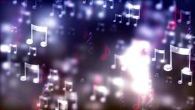 Υπόβαθρο HD Loopable με τις συμπαθητικές πετώντας μουσικές νότες απόθεμα βίντεο