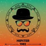 Υπόβαθρο Hipster. Αναδρομικό εκλεκτής ποιότητας σχέδιο ετικετών. Ετικέτα θέματος Hipster, κάρτα. Mustache, γυαλιά και καπέλο σφαιρ Στοκ Φωτογραφία
