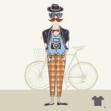 Υπόβαθρο Hipster στο αναδρομικό ύφος Στοκ Εικόνες