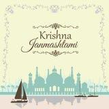 Υπόβαθρο Janmashtami Krishna Ευχετήρια κάρτα για τη Kris Στοκ Φωτογραφία
