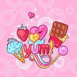Υπόβαθρο Kawaii με τα γλυκά και τις καραμέλες Τρελλή γλυκός-ουσία στο ύφος κινούμενων σχεδίων ελεύθερη απεικόνιση δικαιώματος