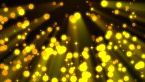 Υπόβαθρο Loopable που πετά τα χρυσά μόρια στις ελαφριές ακτίνες φιλμ μικρού μήκους