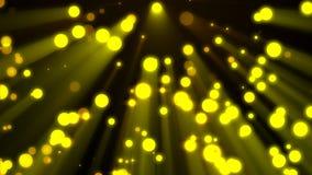 Υπόβαθρο Loopable που πετά τα χρυσά μόρια στις ελαφριές ακτίνες απόθεμα βίντεο