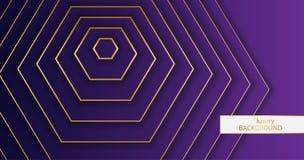 Υπόβαθρο Luxery Σχέδιο των χρυσών κομψών γραμμών σε ένα πορφυρό υπόβαθρο κλίσης Hexagon διανυσματική απεικόνιση eps 10 ταπετσαριώ ελεύθερη απεικόνιση δικαιώματος