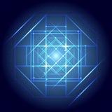 Υπόβαθρο Mandala - μπλε γεωμετρικό mandala σε ένα μαύρο υπόβαθρο Στοκ Εικόνες
