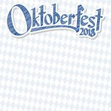 Υπόβαθρο Oktoberfest 2018 με το μπλε-άσπρο ελεγμένο σχέδιο διανυσματική απεικόνιση