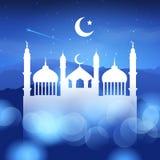 Υπόβαθρο Ramadan με τη σκιαγραφία μουσουλμανικών τεμενών στοκ φωτογραφία