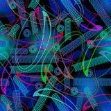 Υπόβαθρο techno φαντασίας με τις καμπύλες και τους στροβίλους Πράσινο και μπλε ντεκόρ στη μαύρη περιοχή Στοκ Φωτογραφία