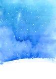 Υπόβαθρο Watercolor με το χιόνι απεικόνιση αποθεμάτων