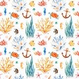 Υπόβαθρο watercolor Seaworld με τη χαριτωμένη χελώνα, seahorse, κοραλλιογενής ύφαλος, φύκι απεικόνιση αποθεμάτων