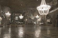 Υπόγεια αίθουσα στο αλατισμένο ορυχείο, Wieliczka στοκ εικόνα