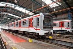 Υπόγεια τρένα στην αποθήκη Hostivar, Πράγα Στοκ εικόνα με δικαίωμα ελεύθερης χρήσης