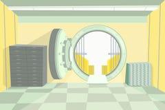 Υπόγειος θάλαμος τράπεζας χρώματος κινούμενων σχεδίων μέσα στο εσωτερικό διάνυσμα διανυσματική απεικόνιση