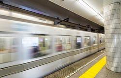 Υπόγειος του Τόκιο fast moving train Στοκ Φωτογραφίες