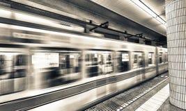 Υπόγειος του Τόκιο fast moving train Στοκ εικόνα με δικαίωμα ελεύθερης χρήσης