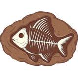 Υπόγειο απολίθωμα ψαριών διανυσματική απεικόνιση