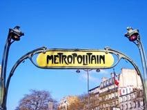 Υπόγειο σημάδι Metropolitain Στοκ εικόνα με δικαίωμα ελεύθερης χρήσης