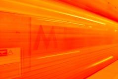Υπόγειο τρένο στην κίνηση Στοκ εικόνες με δικαίωμα ελεύθερης χρήσης