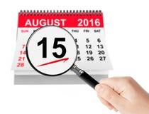 Υπόθεση της έννοιας ημέρας της Virgin Mary 15 Αυγούστου 2016 ημερολόγιο W στοκ φωτογραφία