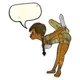 υπόκλιση κοριτσιών Βίκινγκ κινούμενων σχεδίων με τη λεκτική φυσαλίδα Στοκ Εικόνες
