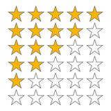 Υπόλοιπος κόσμος του ποσοστού πέντε αστεριών πέντε αστέρων διανυσματικά εικονίδια εκτίμησης που απομονώνονται στο άσπρο υπόβαθρο ελεύθερη απεικόνιση δικαιώματος