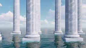 Υπόλοιπος κόσμος των αρχαίων στηλών μεταξύ της τρισδιάστατης έννοιας θάλασσας απόθεμα βίντεο