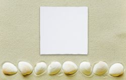 Υπόλοιπος κόσμος των θαλασσινών κοχυλιών και της κάρτας της Λευκής Βίβλου σε μια άμμο θάλασσας Στοκ εικόνες με δικαίωμα ελεύθερης χρήσης