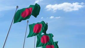 Υπόλοιπος κόσμος των κυματίζοντας σημαιών του μπλε ουρανού agaist του Μπανγκλαντές, άνευ ραφής βρόχος απόθεμα βίντεο