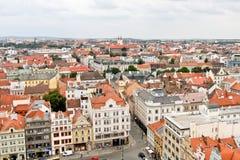 Υπόλοιπος κόσμος των παλαιών κτηρίων, άποψη από τον πύργο καθεδρικών ναών του ST Bartholomew s, Plzen, Δημοκρατία της Τσεχίας Στοκ φωτογραφία με δικαίωμα ελεύθερης χρήσης