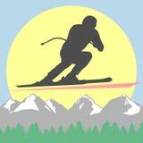 Υπόλοιπο και ένας υγιής τρόπος ζωής στα θέρετρα βουνών Χιόνι και ήλιος διανυσματική απεικόνιση