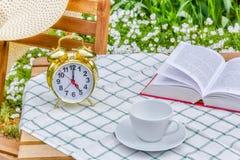 Υπόλοιπο με ένα βιβλίο σε έναν ηλιόλουστο θερινό κήπο Στοκ εικόνα με δικαίωμα ελεύθερης χρήσης