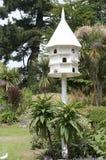 Υπόστεγο περιστεριών στον αγγλικό κήπο με τα άσπρα περιστέρια και την οξυνμένη στέγη Στοκ Εικόνες