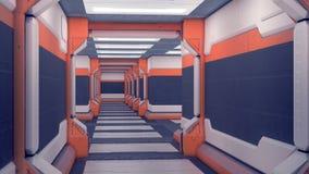 Υπόστεγο sci-Fi Λευκές φουτουριστικές επιτροπές με τις πορτοκαλιές εμφάσεις Διάδρομος διαστημοπλοίων με το φως τρισδιάστατη απεικ διανυσματική απεικόνιση