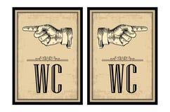 υπόδειξη δάχτυλων Διανυσματική χαραγμένη τρύγος απεικόνιση σε ένα μπεζ υπόβαθρο Σημάδι χεριών για τον Ιστό, αφίσα, πληροφορίες γρ απεικόνιση αποθεμάτων