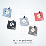Υπόδειξη ως προς το χρόνο επιχειρησιακής έννοιας Πρότυπο Infograph, ρεαλιστικό έγγραφο 5 Στοκ φωτογραφίες με δικαίωμα ελεύθερης χρήσης