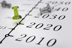 υπόδειξη ως προς το χρόνο του 21$ου αιώνα, έτος 2020 Στοκ Εικόνες