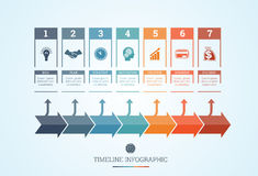 Υπόδειξη ως προς το χρόνο Infographic για επτά θέσεις Στοκ φωτογραφία με δικαίωμα ελεύθερης χρήσης