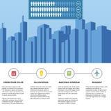 Υπόδειξη ως προς το χρόνο Infographic πόλεων Στοκ Φωτογραφία