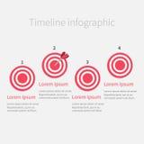 Υπόδειξη ως προς το χρόνο Infographic τέσσερα βήμα γύρω από το στόχο κύκλων Πρότυπο Επίπεδο σχέδιο Στοκ εικόνα με δικαίωμα ελεύθερης χρήσης