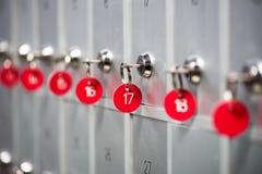 Υπόλοιπος κόσμος των ντουλαπιών μετάλλων σε ένα αθλητικό μεταβαλλόμενο δωμάτιο Στοκ εικόνες με δικαίωμα ελεύθερης χρήσης